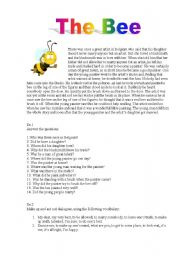 English Worksheet: The Bee