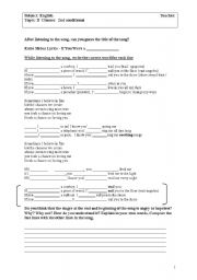 English Worksheet: 2nd conditional with a nice song