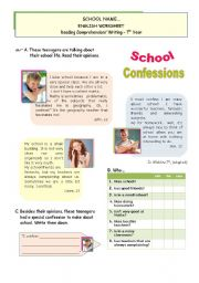 English Worksheet: School Confessions  - Reading + writing for Upper Elementart/ Lower Intermediate Students