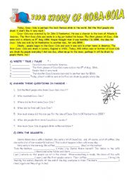 English Worksheet: The Story of Coca Cola - Passive Voice