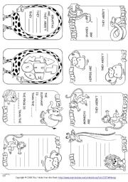 English Worksheet: Describing Animals Mini Book