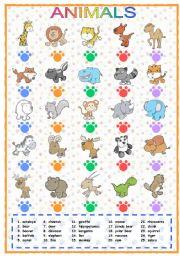 English worksheet: Animals (1 of 3)