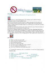English Worksheet: Drinking Prohibition
