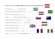 English worksheet: Languages, nationalities, countries
