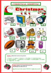 English Worksheets: Christmas Shopping (How much is it?)
