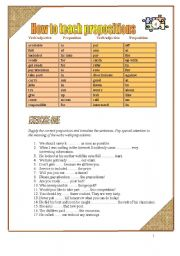 English Worksheet: Teaching prepositions