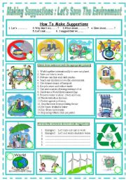 English Worksheet: Making Suggestions  :   Let´s save the environment