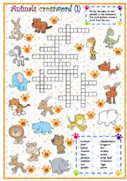 English Worksheets: Animals crossword (1 of 3)