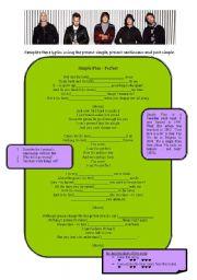 English Worksheet: Song (Simple Plan): present => past
