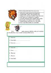 English Worksheets: Describing a lion