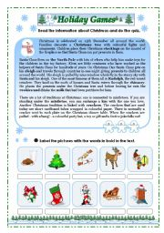 English Worksheet: Holiday Games