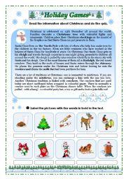 English Worksheets: Holiday Games
