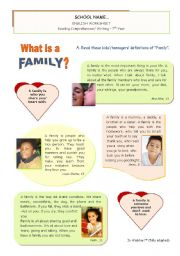 English Worksheets: What is a Family Anyway? - Reading Comprehension + Writing for 6/7th graders