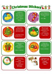 English Worksheet: CHRISTMAS STICKERS WITH THOUGHTS!