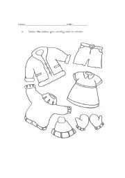 Clothes worksheets for Pre-Primary - ESL worksheet by Golight