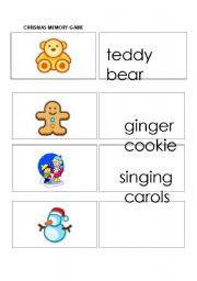 English Worksheet: Christmas Memory Game