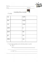 English Worksheets: Writing numbers from 0 999