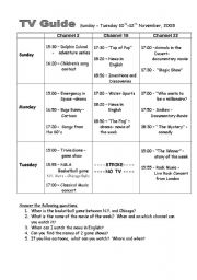 English Worksheets: TV Guide