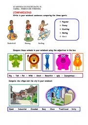 English Worksheet: Comparing sports, animals and places
