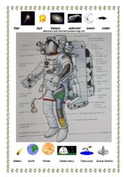 English Worksheets: Astronaut with manned manoeuvring unit