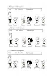 English Worksheet: Opposites with Mafalda