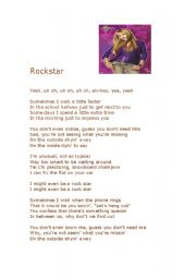 English Worksheet: ROckstar by Hannah Montana