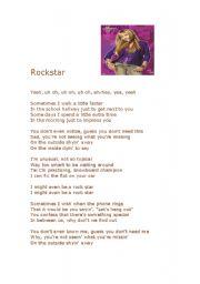 English Worksheets: ROckstar by Hannah Montana