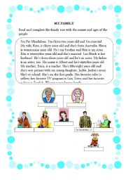 English Worksheets: Reading comprehension - My Family