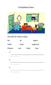 prepositions of place (on - in - under)
