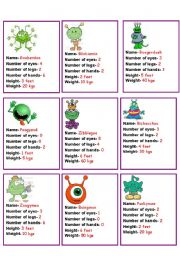 English Worksheet: COMPARITIVES- compare the aliens