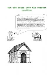 English Worksheets: Where does Rover hide his bones? - Prepositions of place