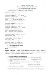 English worksheet: Activities on Sam Cooke Wonderful World