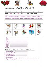 English Worksheet: Abilities : what can Mickey Mouse do or can�t he do ?