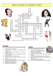 Personality adjectives crossword