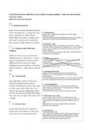English Worksheets: Travelers and accomodation