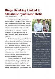 English Worksheets: Binge Drinking Linked to Metabolic Syndrome Risks