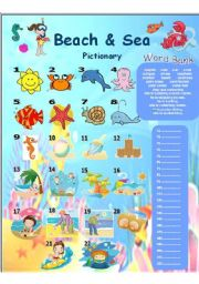 English Worksheet: Beach and Sea Pictionary