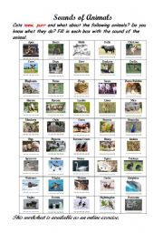 English Worksheet: Sounds of Animals.