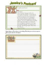 English Worksheet: Writing a  postcard
