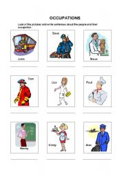 English Worksheets: Occupations 1of 2