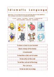 English Worksheets: Idiomatic Language: Animals