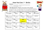 English Worksheets: Have you ever...? Bingo