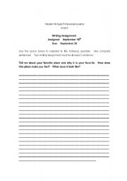 English Worksheets: Writing Assignments