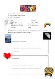 English Worksheet: Writing Poems