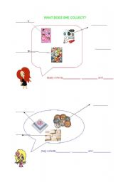 English Worksheets: WHAT DOES SHE COLLECT?