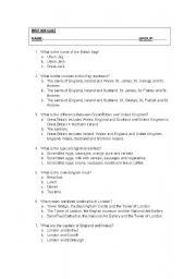 English Worksheet: Quiz: British culture