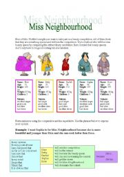 English Worksheets: Miss Neighbourhod - comparing