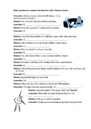 English Worksheets: Interview with a ballet dancer