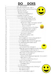 English worksheet: 45 sentences with DO DOES present simple