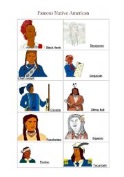 English worksheet: famous native americans